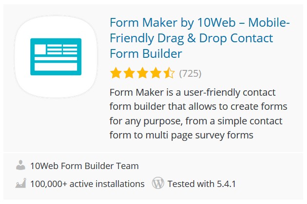 Form Maker by 10Web – Mobile-Friendly Drag & Drop Contact Form Builder