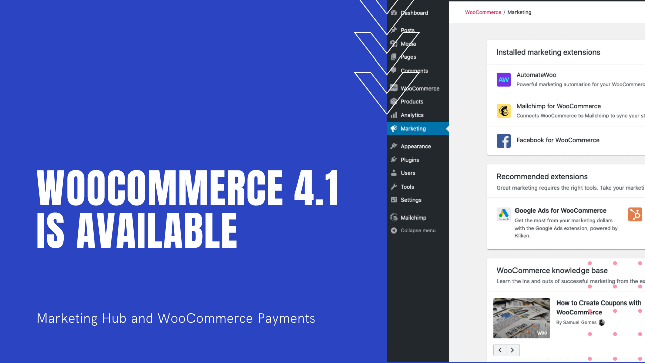 WooCommerce 4.1 - Marketing Hub and Payments